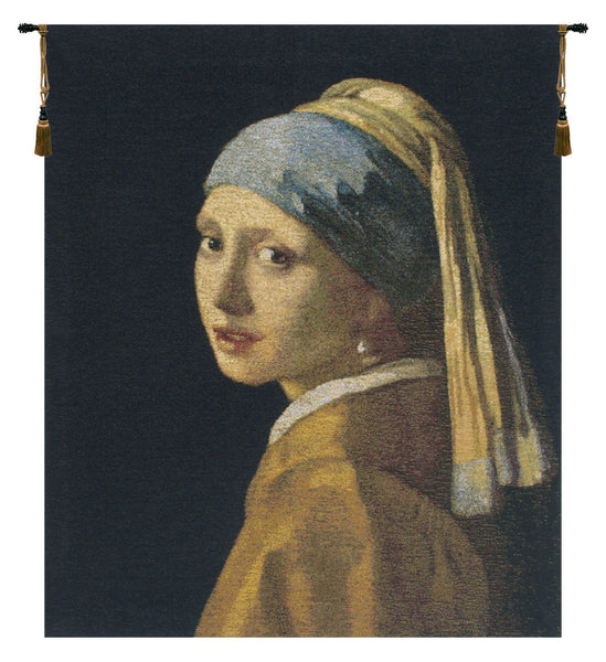 Vermeer Girl With the Pearl Earring Belgian Tapestry Wall Hanging