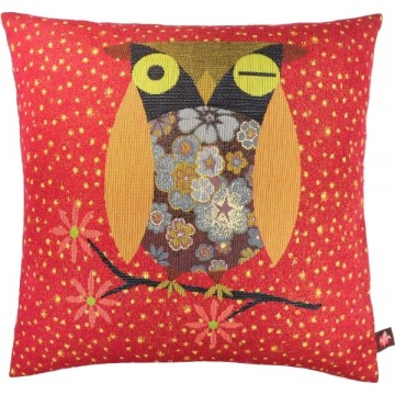 Flowered Owl Red French Tapestry Cushion