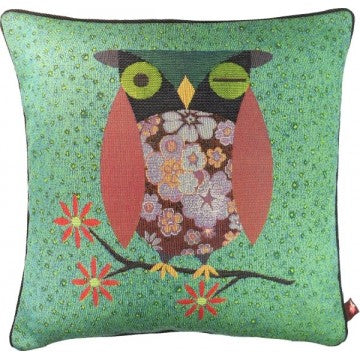 Flowered Owl Green French Tapestry Cushion
