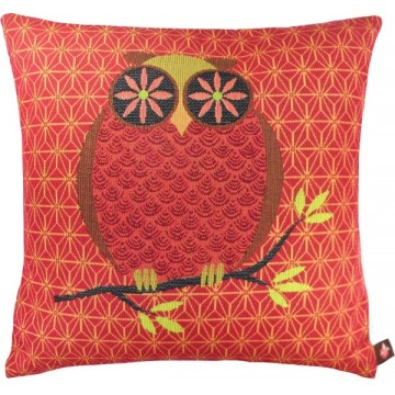 Owl Red French Tapestry Cushion
