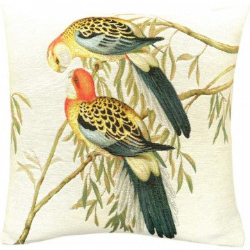 Two Parakeets White French Tapestry Cushion
