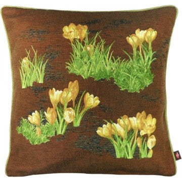 Crocus Brown French Tapestry Cushion