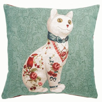 Cat and Flowers Green French Tapestry Cushion
