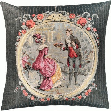 Romantic The Gift In Grey French Tapestry Cushion