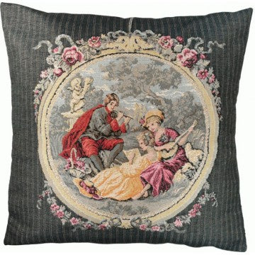 Romantic Music in Grey French Tapestry Cushion