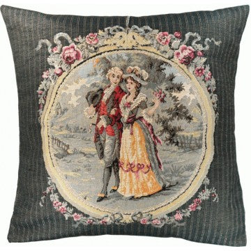 Romantic Walk In Grey French Tapestry Cushion