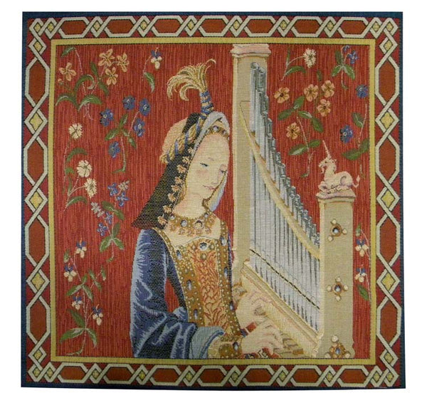 L'ouie the Hearing French Tapestry Cushion
