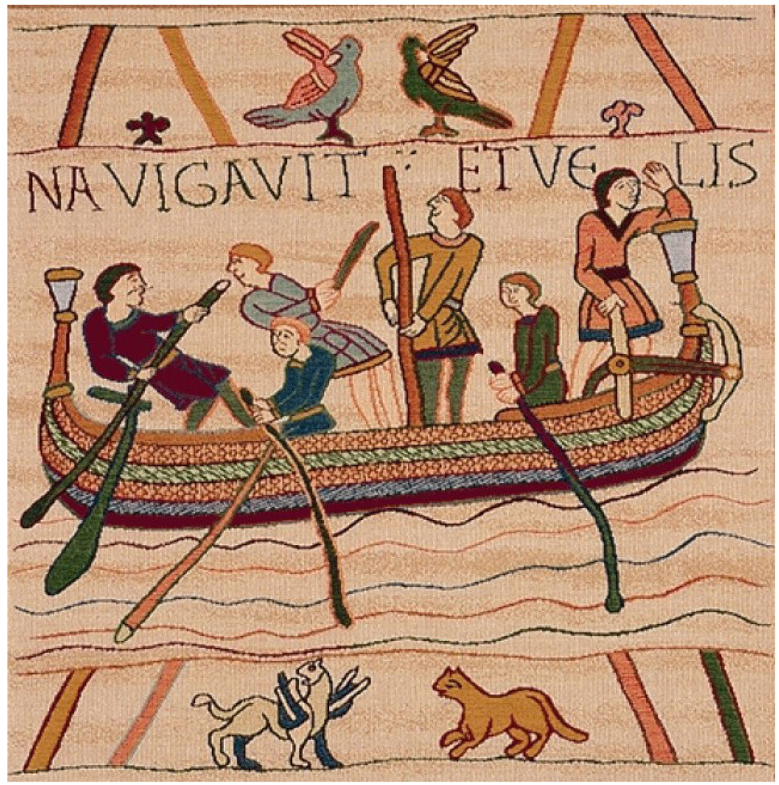 Bayeux L'Embarquement French Tapestry Cushion