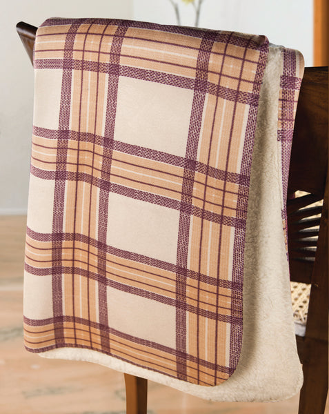 Mad For Plaid Brown and Cream Tapestry Throw