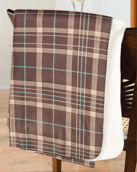 Mad For Plaid Brown and Teal Tapestry Throw