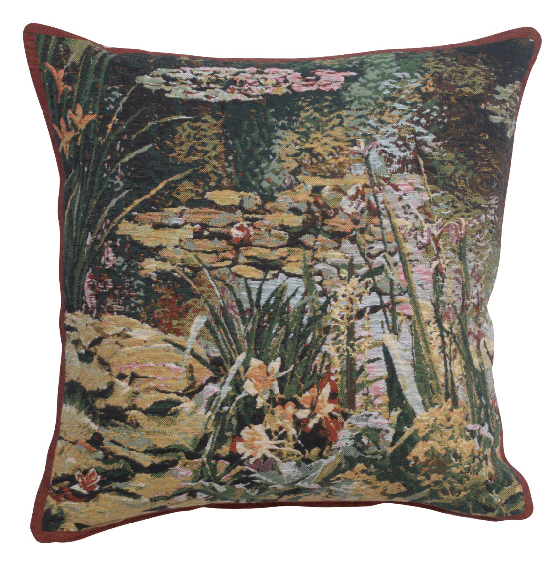 Yellow Flowers Monet's Garden  Belgian Tapestry Cushion