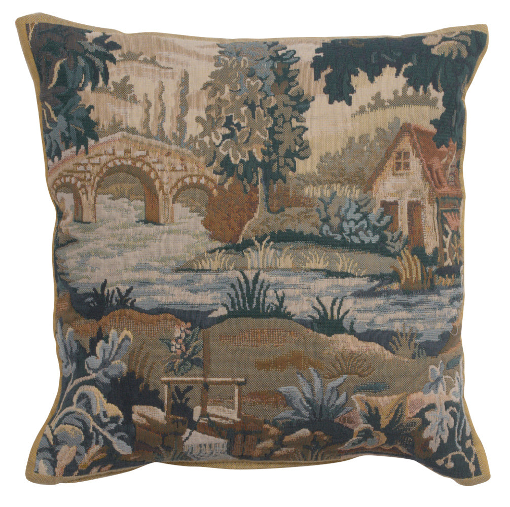 Paysage Flamand Moulin 1 Belgian Tapestry Cushion
