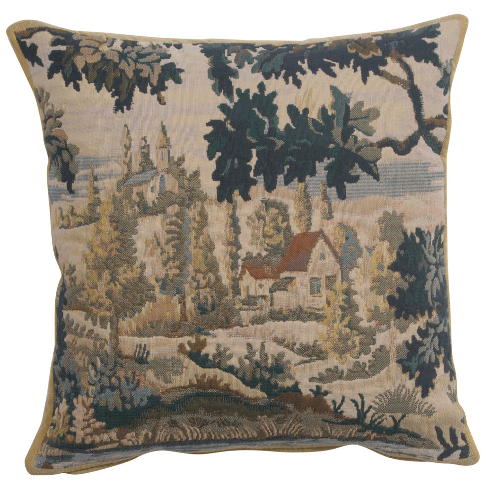 Paysage Flamand Village 1 Belgian Tapestry Cushion