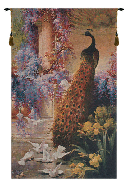 Peacock & Doves I Belgian Tapestry Wall Hanging