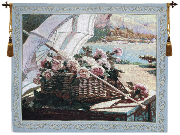 A Basket Of Roses Fine Art Tapestry