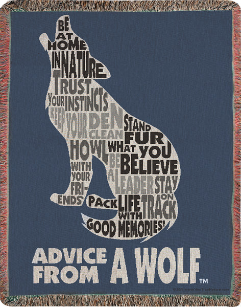 Advice From A Wolf II Tapestry Throw