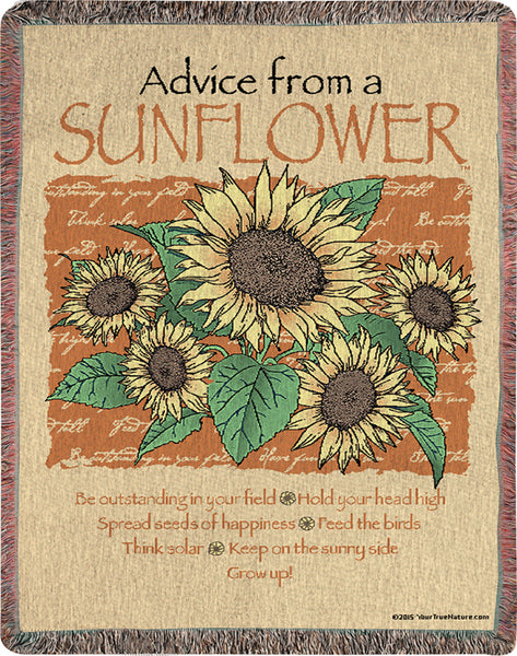 Advice From A Sunflower Tapestry Throw