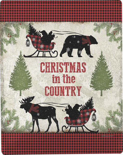 Country Christmas Tapestry Throw