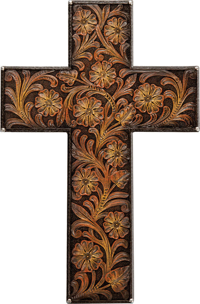 Tooled Leather Wall Cross Wall Art