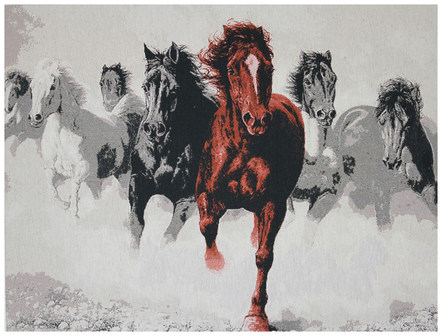 Band of Wild Horses Stretched Wall Tapestry