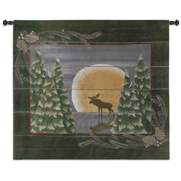 Moonlight Moose Large Tapestry Wall Hanging