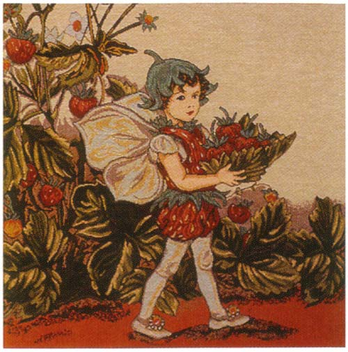 Strawberry Fairy Cicely Mary Barker  European Cushion Cover