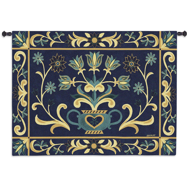 Heritage Floral Blue Yel Tapestry Wall Hanging