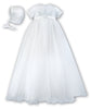 Sarah Louise 001041 White Christening Gown with Bonnet