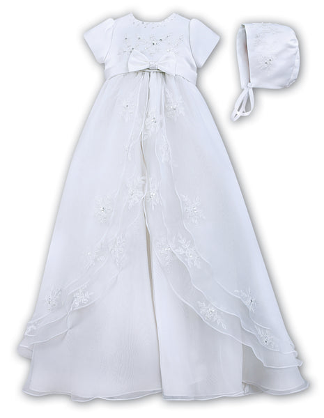 3907b6093 Sarah Louise 001068 White Christening Gown with Bonnet