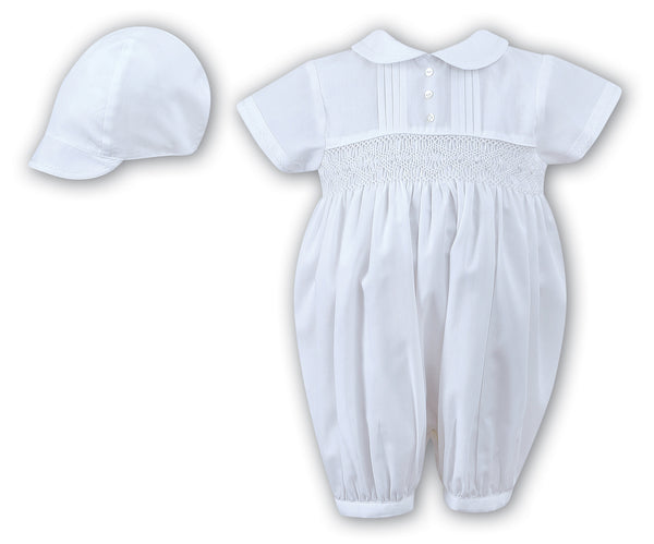 Sarah Louise 002200 Boys White Christening Romper and Cap