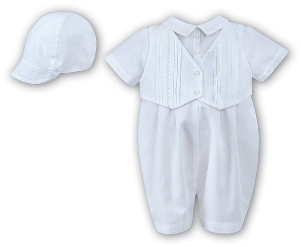 Sarah Louise 002210 Boys White Christening Romper