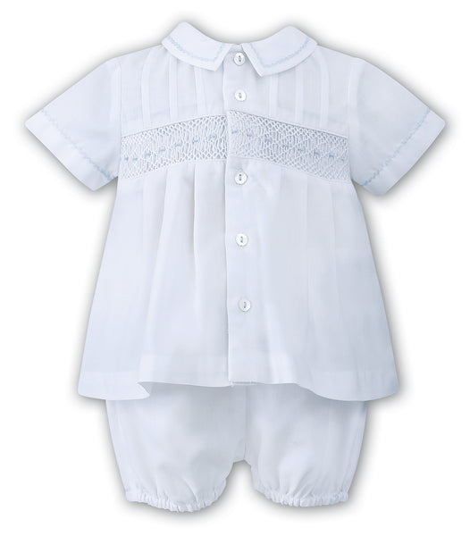 fb31b50b5 Sarah Louise 010696 Boys White & Blue 2 piece Christening Outfit