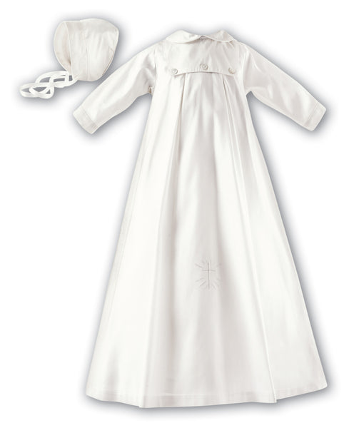 Sarah Louise 001177 Silk Christening Robe and Hat - long sleeved