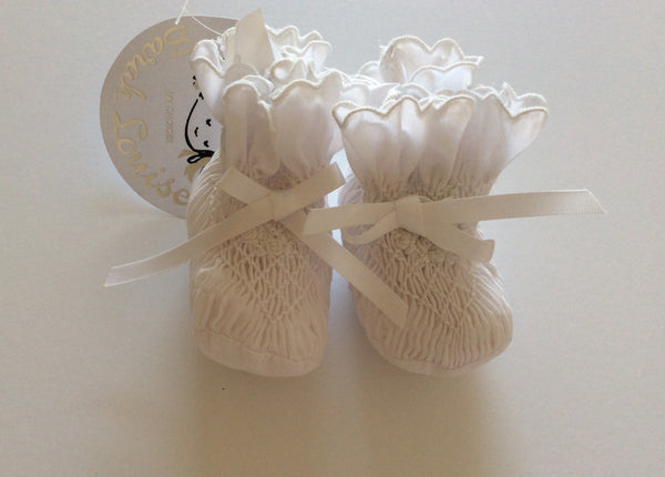Sarah Louise Hand Smocked White Baby Pram Shoes 004407