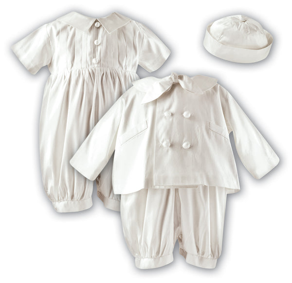 Sarah Louise 002215 Silk Christening Romper, Hat and Jacket