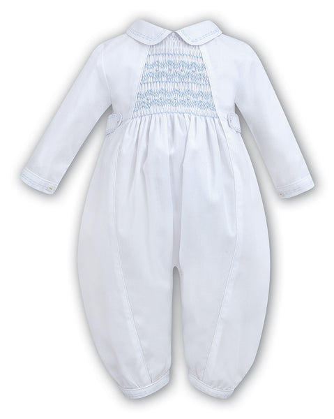Sarah Louise Boys long sleeve Christening Romper white / blue 002219