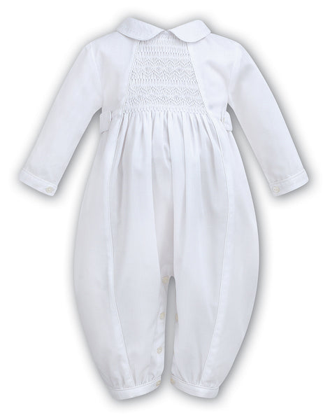 Sarah Louise Boys white smocked long sleeve Christening Romper 002219