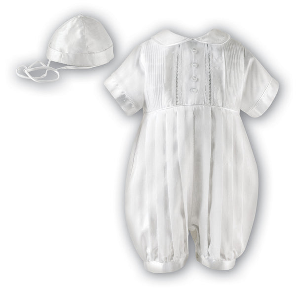 Sarah Louise Boys White Christening Romper 002232 Short Sleeved