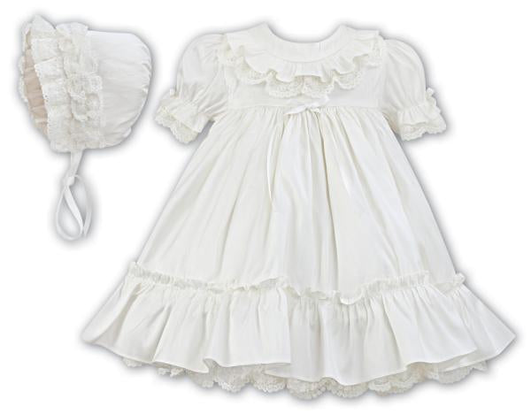 Sarah Louise Silk Christening Dress & Bonnet 001145