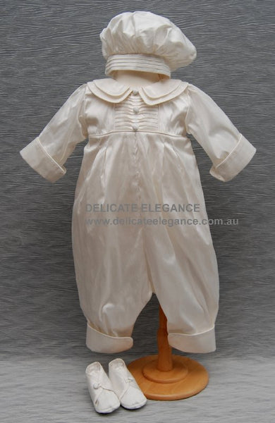 Delicate Elegance Boys Silk Christening Romper, Hat & Bootees 4270