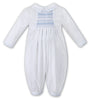 Sarah Louise Boys long sleeve Christening Romper white / blue 010845