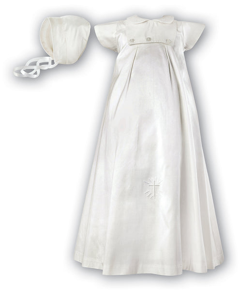 Sarah Louise 001177 Silk Christening Robe and Hat - short sleeved