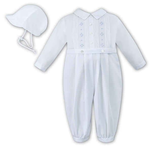Sarah Louise 010846 Boys White and blue long sleeve Christening Romper