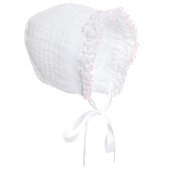 Sarah Louise Bonnet White with pink  003602