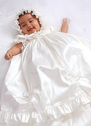 Sarah Louise 001144 Ivory Silk Christening Gown with Bonnet