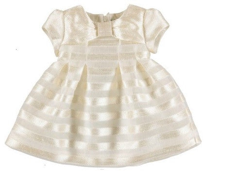 Mayoral Stripes Jacquard Dress 1910 Ivory