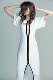 White Neoprene Long Gown