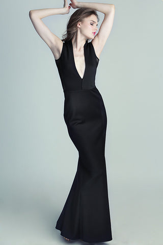 Long Black Neoprene Gown