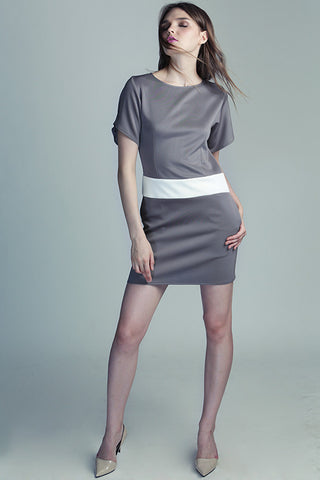 Grey Dress with White waistband