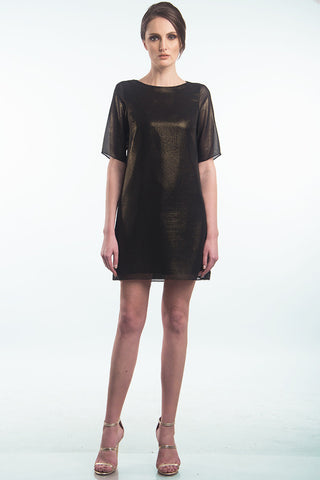 Black shift dress with gold speckles